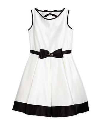 Contrast-Trim Satin Dress, Ivory/Black, Size 8-14