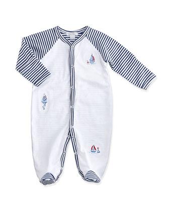 Topsail Striped Footie Pajamas, Navy/White, Size Newborn-9 Months