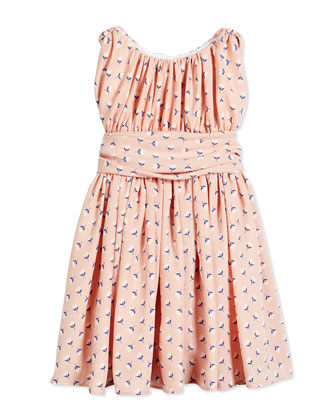 Floral Shirred Chiffon Dress, Pink, Size 7-14
