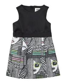 Les Femmes Jacquard Sheath Dress, Black/Multicolor, Size 2-7