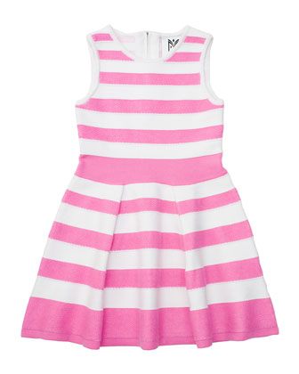 Striped A-Line Knit Dress, Candy, Size 2-7