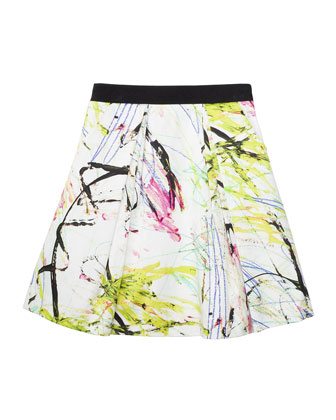 Katie Scribble-Print Pleated Skirt, Multicolor, Size 8-14