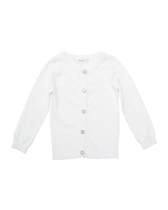Long-Sleeve Novelty-Button Cardigan, White, Size 8-14