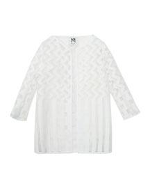 Illusion Fil Coupe Jacket, White, Size 8-14