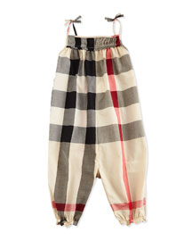 Sleeveless Cotton Jumpsuit, New Classic Check, Size 3M-3Y