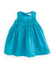 Sleeveless Pleated Ramie Shift Dress, Topaz Blue, 3M-3Y