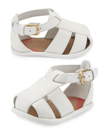 Newborn Leather Strappy Sandal, Optic White