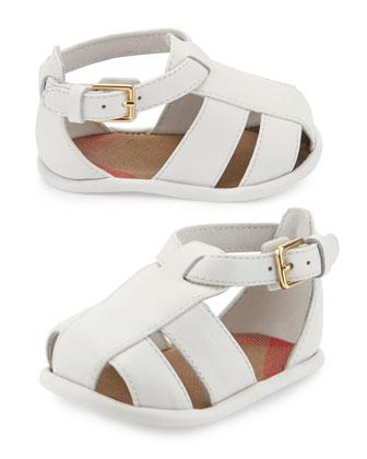 Newborn Leather Strappy Sandal, Optic White