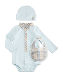 Carlos Stretch-Knit Playsuit, Baby Hat & Bib Boxed Gift Set, Blue, Size 3-18 Months