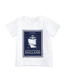 Coastal England Graphic Jersey Tee, Bright Navy/White, Size 3-18 Months