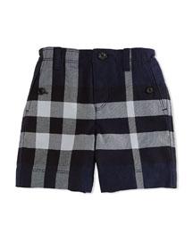 Mini Scoutshort Cotton Check Shorts, Navy