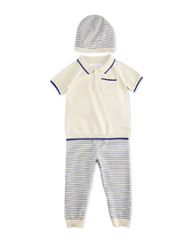 Conny Fine-Knit Shirt, Pants & Baby Hat Boxed Gift Set, Bright Lapis/Cream, Size 3-18 Months ...