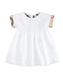 Mini Jen Smocked Pique Dress w/ Check Cuffs, White, Size 3M-3Y