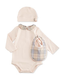 Carina Stretch-Knit Playsuit, Baby Hat & Bib Boxed Set, Ice Pink, Size 1M-3Y