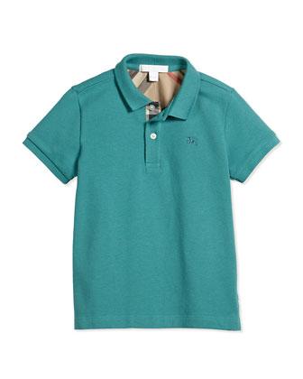 Short-Sleeve Pique Polo Shirt, Aqua Green, Size 4-14