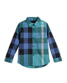 Mini Camber Long-Sleeve Check Poplin Shirt, Cyan/Green, Size 4Y-14Y