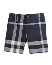 Percy Cotton Check Shorts, Navy, Size 4Y-14Y