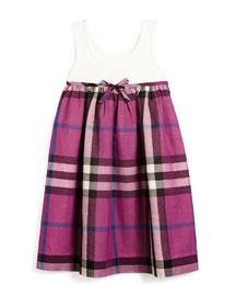 Check Tank Dress, Natural White, Girls' Sizes 4Y-14Y