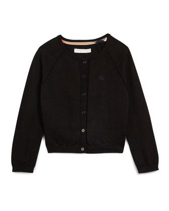 Long-Sleeve Raglan Cardigan, White, Size 4Y-14Y