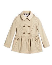 Mantlebury Skirted Trench Coat, Beige, Size 4Y-14Y