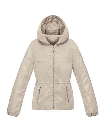 Regis Hooded Lightweight Jacket, Stone, Size 8-14