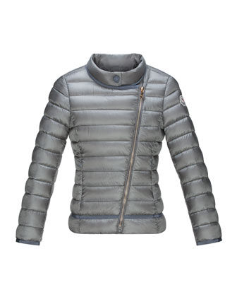 Amy Long Asymmetric-Front Quilted Jacket, Charcoal, Size 8-14