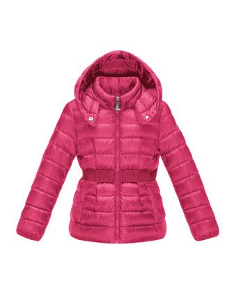Anouche Long Zip-Front Puffer Jacket, Fuchsia, Size 2-6