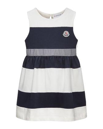 Striped Stretch Jersey Dress, White/Navy, Size 2-6