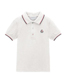 Tipped Pique-Knit Cotton Polo, Size 2-6