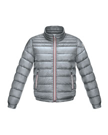 Daniel Long Zip-Front Lightweight Down Puffer Jacket, Gray, Size 2-6