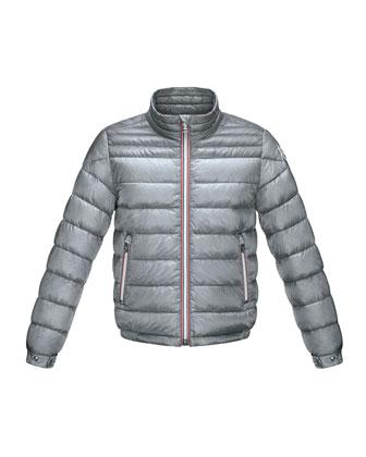 Daniel Long Zip-Front Puffer Jacket, Gray, Size 2-6