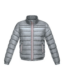 Daniel Long Zip-Front Puffer Jacket, Gray, Sizes 8-14