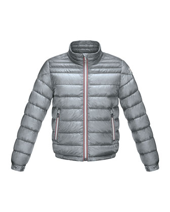 Daniel Long Zip-Front Puffer Jacket, Gray, Sizes 8-14