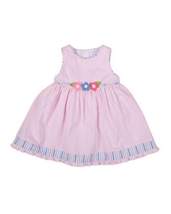 Striped Seersucker Dress, White/Pink, Size 12-24 Months