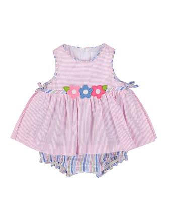 Striped Seersucker Play Dress, White/Pink, Size 3-24 Months