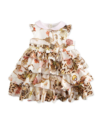 Variation Printed Tiered Ruffle Dress, Leopard, Size 6M-24M