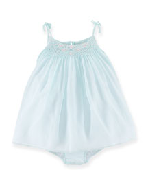 Embroidered-Front Shift Dress, Opal Blue, 6-24 Months