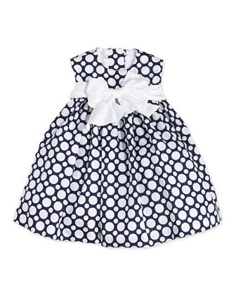 Sleeveless Polka Dot Cotton Dress, Navy/White, Size 12-24 Months