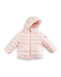 Odile Hooded Down Coat, Light Pink, Size 12M-3T