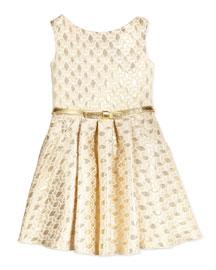 Sleeveless Jacquard Circle Dress, Gold, Size 7-14