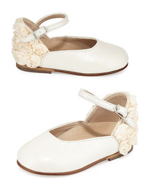Rosette-Trim Leather Mary Jane Flat, Ivory, Toddler