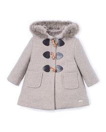Hooded Faux-Fur-Trim Duffle Coat, Beige, Size 4-6