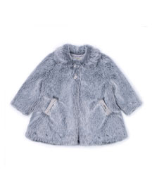 Faux-Fur Two-Button Coat, Gray, Size 3-6