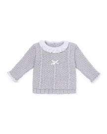 Collared Button-Back Sweater, Gray, Size 3-12 Months