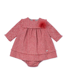 Long-Sleeve Tweed Dress & Bloomers, Coral, Size 12M-3