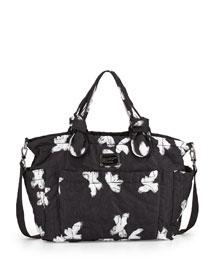 Pretty Nylon Painted Flower Diaper Bag, Black Multi