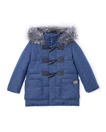 Faux-Fur-Trim Hooded Duffle Coat, Blue, Size 2-6