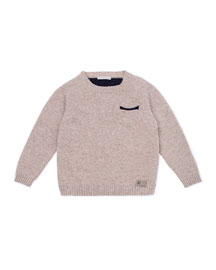 Knit Elbow-Patch Pullover Sweater, Tan, Size 2-6