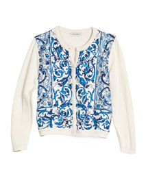 Floral Tile Silk Cardigan, Blue/White, Size 8-12