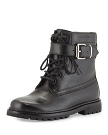 Woodcliff Leather Combat Boot, Black